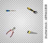 realistic chisel  hacksaw ... | Shutterstock .eps vector #689661808