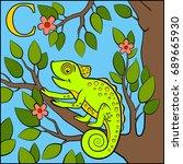 cartoon animals alphabet. c is... | Shutterstock .eps vector #689665930