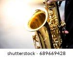 soft and blur focus.saxophonist ... | Shutterstock . vector #689669428
