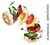 breakfast burger. watercolor... | Shutterstock . vector #689676403