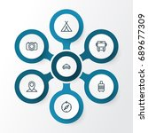 exploration outline icons set.... | Shutterstock .eps vector #689677309