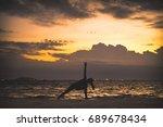 young woman yoga exersice...   Shutterstock . vector #689678434