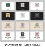 set of business cards with hand ... | Shutterstock .eps vector #689678668