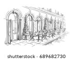french street cafe  hand drawn... | Shutterstock .eps vector #689682730