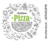 set of pizza ingredients in... | Shutterstock .eps vector #689682898
