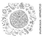 set of pizza ingredients in... | Shutterstock .eps vector #689682910