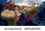 one belt one road route map ... | Shutterstock . vector #689684080