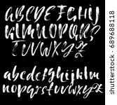 hand drawn dry brush font.... | Shutterstock .eps vector #689688118