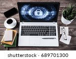 business workplace with office... | Shutterstock . vector #689701300