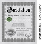 grey invitation template. with... | Shutterstock .eps vector #689708890