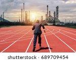 businessman running on a racing ... | Shutterstock . vector #689709454