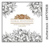 romantic invitation. wedding ... | Shutterstock .eps vector #689709838