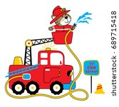 firefighter vector cartoon... | Shutterstock .eps vector #689715418