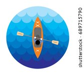 kayak icon. canoe view from... | Shutterstock .eps vector #689715790