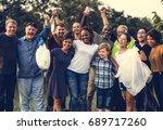 group of diversity people... | Shutterstock . vector #689717260