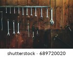 Set Of Wrenches Hang On Wooden...
