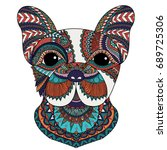 colorful french bulldog with... | Shutterstock .eps vector #689725306