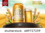 wheat beer ads with hops on top ...   Shutterstock .eps vector #689727259