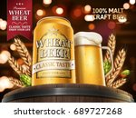 wheat beer ads  refreshing beer ... | Shutterstock .eps vector #689727268