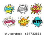 comic speech bubbles set with... | Shutterstock . vector #689733886