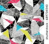 geometric seamless pattern in... | Shutterstock . vector #689734540