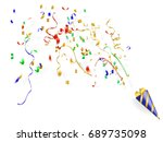 exploding party popper with... | Shutterstock .eps vector #689735098