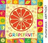 grapefruit vector illustration | Shutterstock .eps vector #68974267