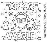 explore the world. coloring... | Shutterstock .eps vector #689745004