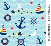 seamless pattern with sailing ... | Shutterstock .eps vector #689746180