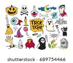 cartoon halloween set vector .... | Shutterstock .eps vector #689754466
