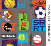 seamless sport pattern for  ... | Shutterstock .eps vector #689757070