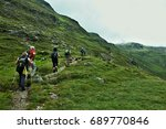 alps view on the tourist in... | Shutterstock . vector #689770846