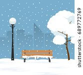 winter landscape in city park.... | Shutterstock .eps vector #689772769