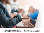 businessmen work and drink...   Shutterstock . vector #689773630
