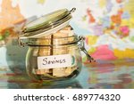 travel money savings in a glass ... | Shutterstock . vector #689774320