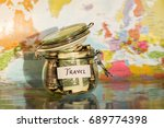 travel money savings in a glass ... | Shutterstock . vector #689774398
