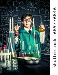 smart boy scientist making... | Shutterstock . vector #689776846