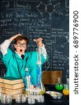 smart boy scientist making... | Shutterstock . vector #689776900