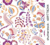 seamless pattern with fantasy... | Shutterstock .eps vector #689778244