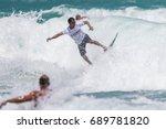 july 29  unidentified surfer in ...   Shutterstock . vector #689781820