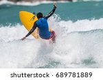 july 29  unidentified surfer in ... | Shutterstock . vector #689781889