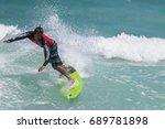 july 29  unidentified surfer in ...   Shutterstock . vector #689781898