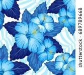 summer hawaiian seamless...   Shutterstock .eps vector #689789668
