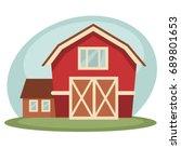 red barn on farm | Shutterstock .eps vector #689801653