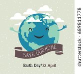 earth day poster  cartoon style.... | Shutterstock . vector #689811778