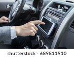 man driving car with navigation ...   Shutterstock . vector #689811910