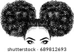 black woman with curly hair | Shutterstock .eps vector #689812693