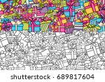 presents and gift boxes cartoon ... | Shutterstock .eps vector #689817604