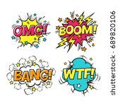 comic speech bubbles set with...   Shutterstock . vector #689820106