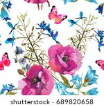 poppies with bluebells and wild ... | Shutterstock . vector #689820658